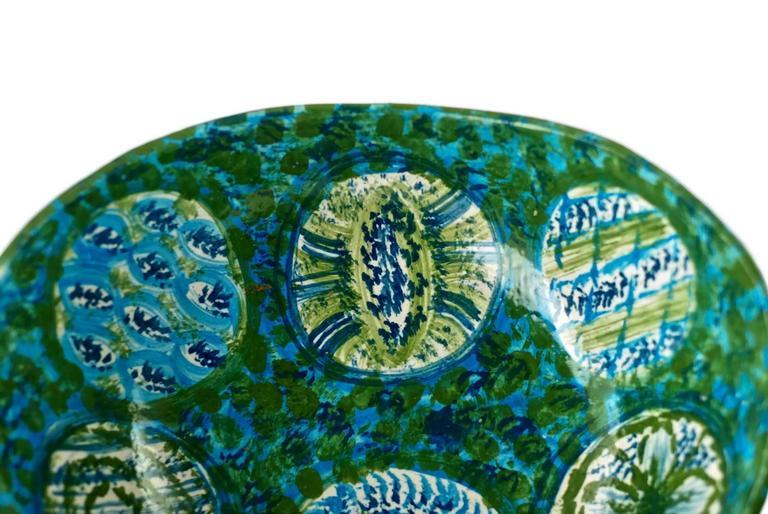 Midcentury Raymor Hand-Painted Italian Ceramic Centerpiece Bowl For Sale 2