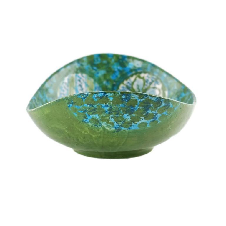 20th Century Midcentury Raymor Hand-Painted Italian Ceramic Centerpiece Bowl For Sale