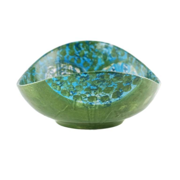 Glazed Midcentury Raymor Hand-Painted Italian Ceramic Centerpiece Bowl For Sale
