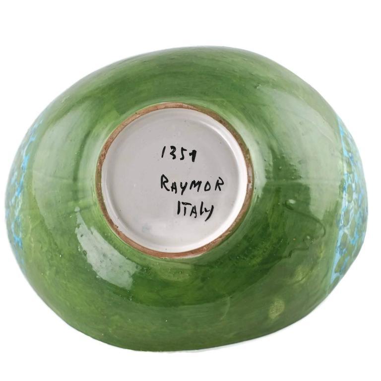 Midcentury Raymor Hand-Painted Italian Ceramic Centerpiece Bowl For Sale 4