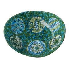 Midcentury Raymor Hand-Painted Italian Ceramic Centerpiece Bowl