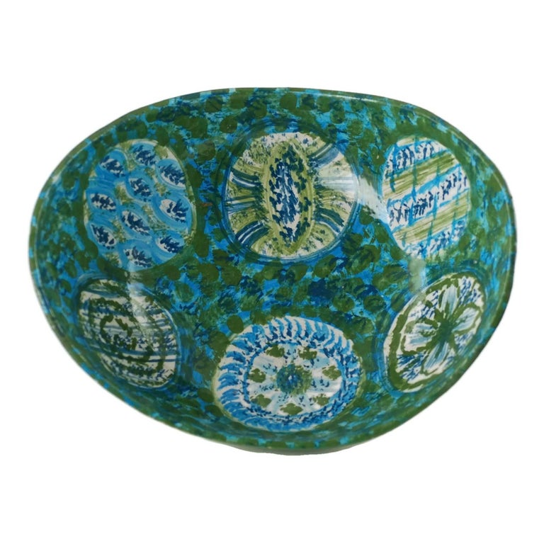 Midcentury Raymor Hand-Painted Italian Ceramic Centerpiece Bowl For Sale