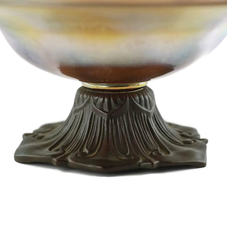 Art Nouveau Early 20th Century Tiffany Favrile Art Glass Console Bowl with Bronze Base For Sale