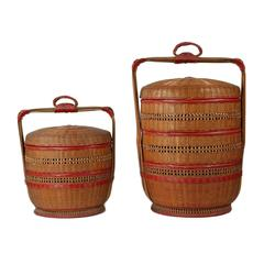 Pair of Early 20th Century Japanese Woven Bamboo Tiered Wedding Baskets