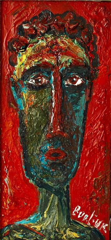 This vibrant neo-primitive portrait was executed by Ukranian born artist David Davidovich Burliuk (1882-1967). A student of the Kazan School of Fine Arts and Paris' Ecole des Beaux Arts, Burliuk moved to the United States in 1922 and settled on Long