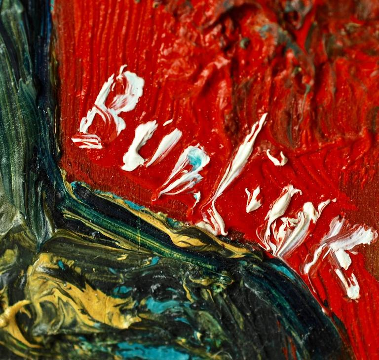 Canvas 20th Century David Burliuk Neo-Primitive Portrait For Sale