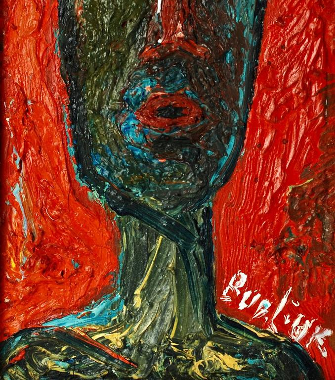 American 20th Century David Burliuk Neo-Primitive Portrait For Sale