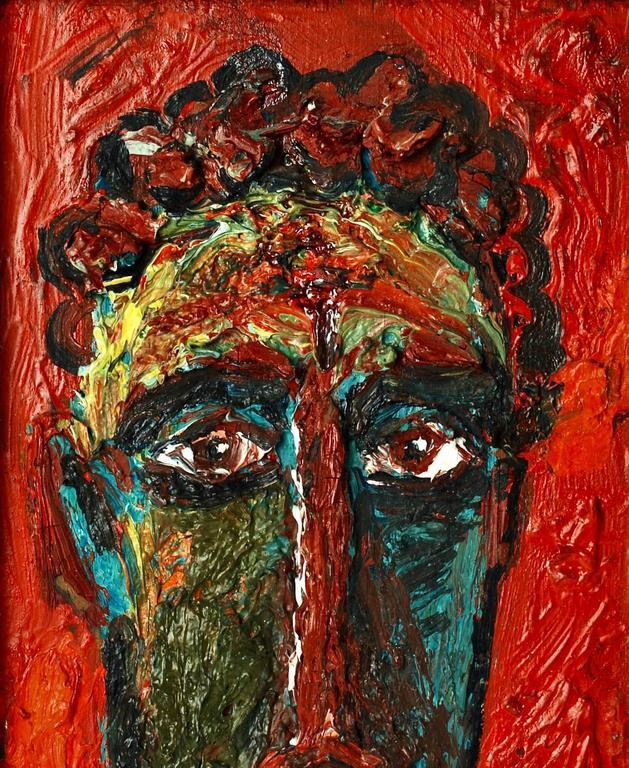 Modern 20th Century David Burliuk Neo-Primitive Portrait For Sale