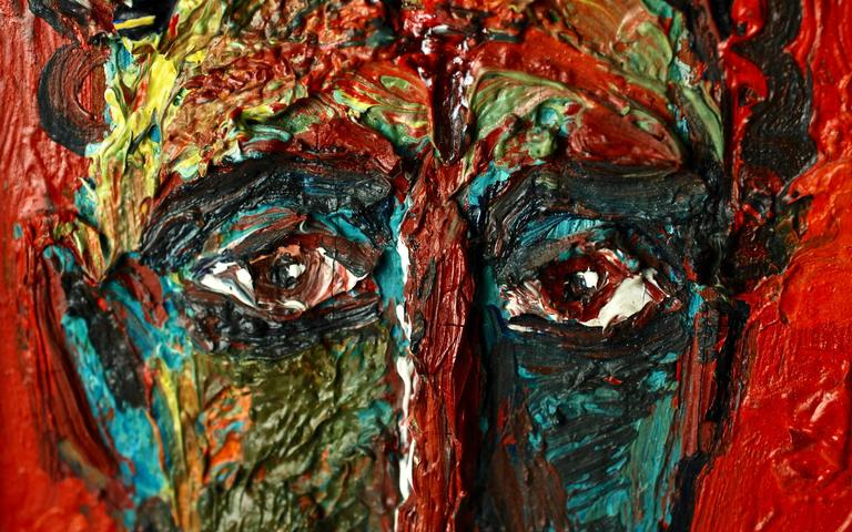 20th Century David Burliuk Neo-Primitive Portrait In Distressed Condition For Sale In Cincinnati, OH