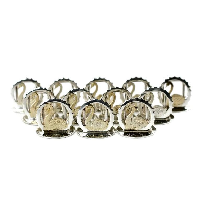 Asprey & Co Sterling Silver Cased Swan Motif Menu Place Card Holders Set of 12 For Sale