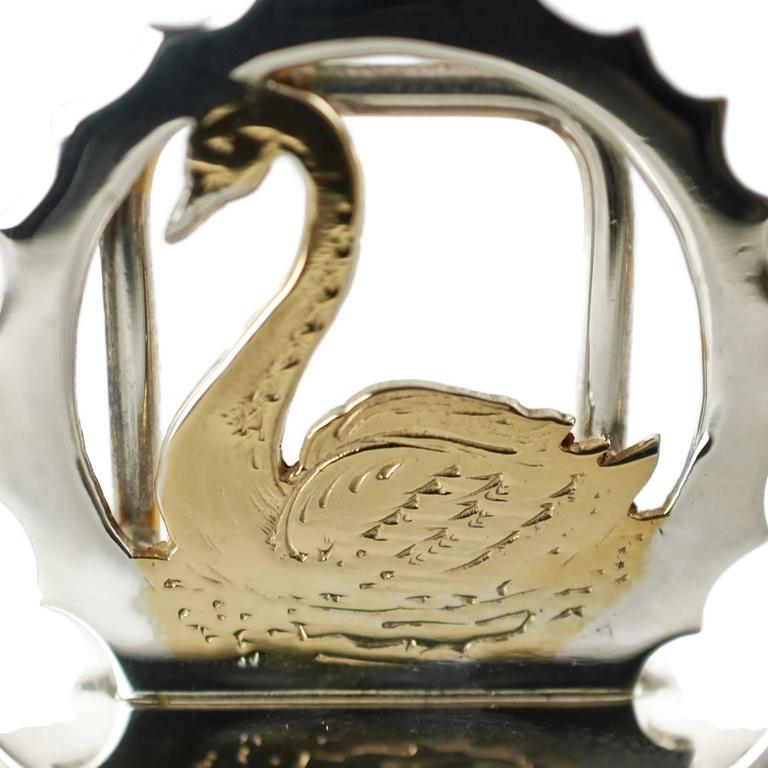 English Asprey & Co Sterling Silver Cased Swan Motif Menu Place Card Holders Set of 12 For Sale