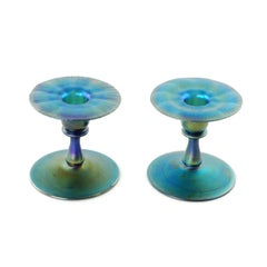 Matched Pair of Louis Comfort Tiffany Blue Favrile Art Glass Candleholders