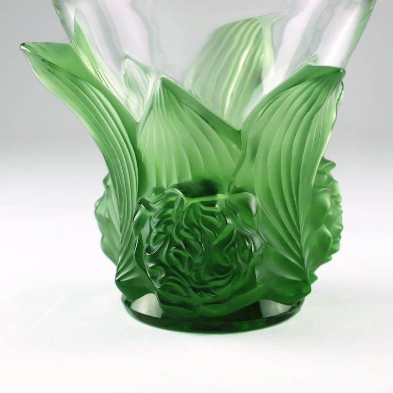 Lalique Signed and Numbered Limited Edition Clear and Satin Green Vase  Pivoines