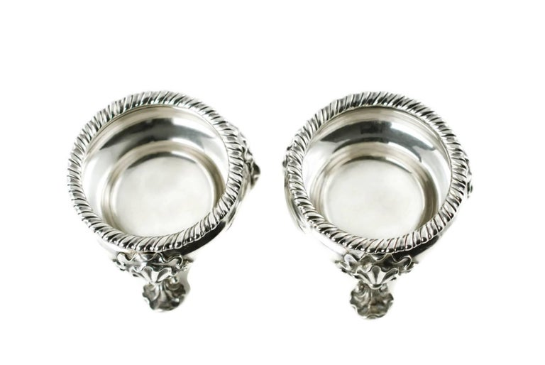 English Antique Pair of Lewis Pantin George II Sterling Silver Footed Master Salts For Sale