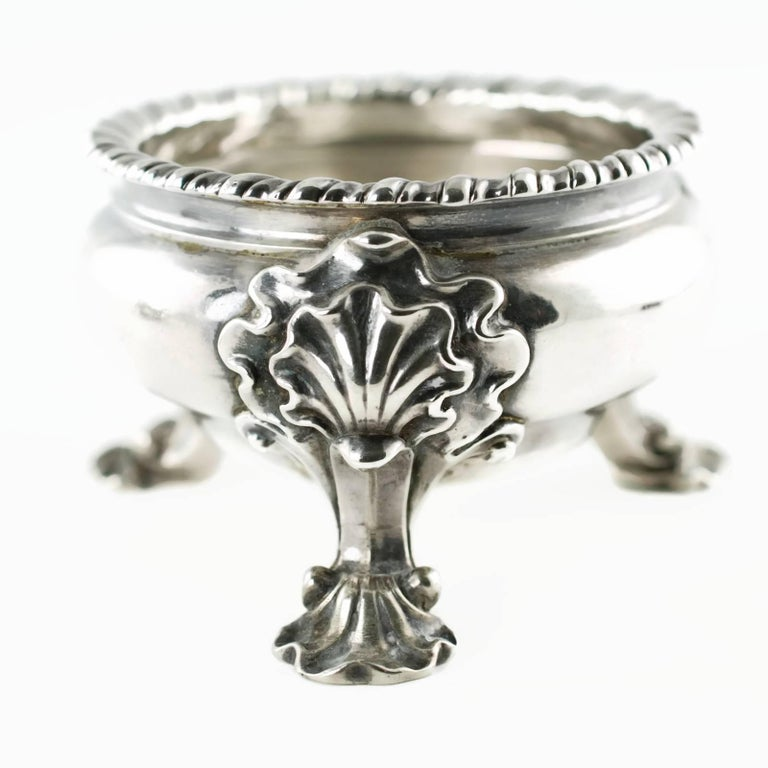 Antique Pair of Lewis Pantin George II Sterling Silver Footed Master Salts For Sale 1