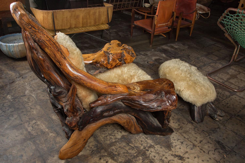 Oversize Biomorphic Burl Wood Lounge Chair And Ottoman