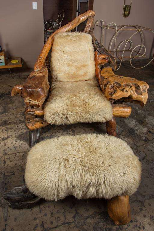 Surprising Oversize Biomorphic Burl Wood Lounge Chair And Ottoman With Sheepskin Alphanode Cool Chair Designs And Ideas Alphanodeonline