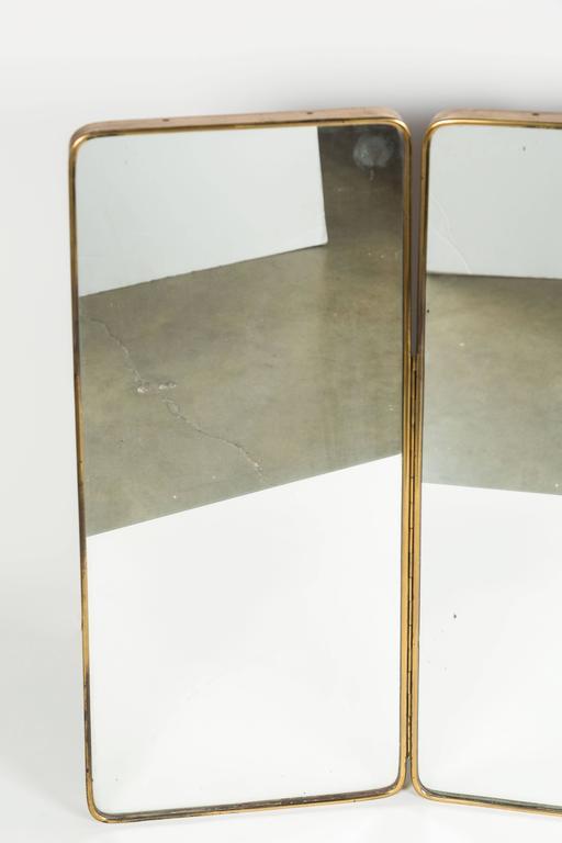 Oversize Italian Brass Tri Fold Mirror, Brass Tri Fold Dressing Table Mirror