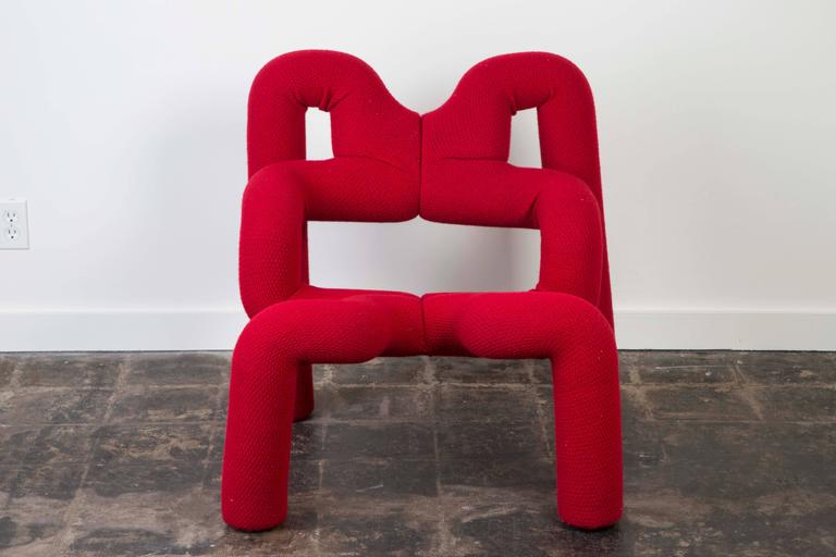 """Sculptural """"Ekstrem"""" lounge chair by Terje Ekström. Designed in Norway, circa 1972 and produced in 1984.   This ergonomic armchair offers variable seating positions."""