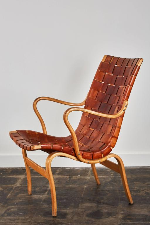 Pair of Woven Leather Eva Chairs by Bruno Mathsson In Distressed Condition For Sale In Los Angeles, CA