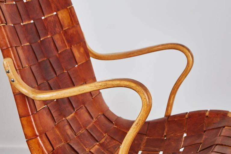 Pair of Woven Leather Eva Chairs by Bruno Mathsson For Sale 1