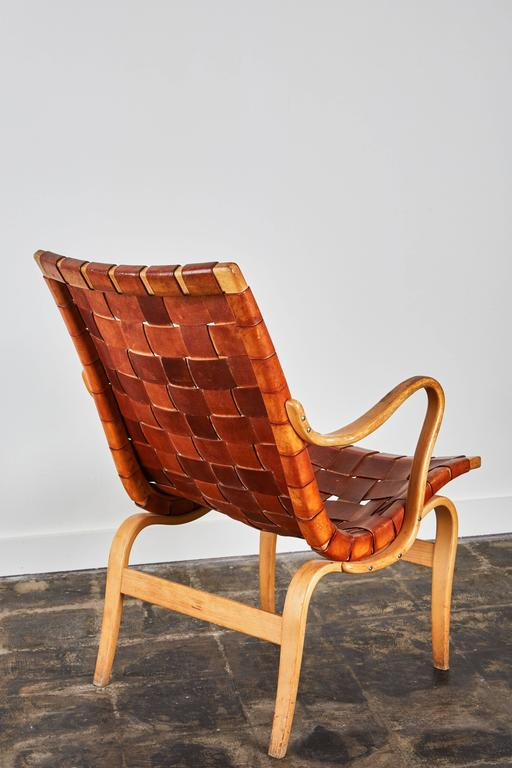 Pressed Pair of Woven Leather Eva Chairs by Bruno Mathsson For Sale