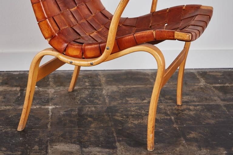 Pair of Woven Leather Eva Chairs by Bruno Mathsson For Sale 4