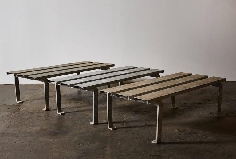 Three Slatted Galvanized Steel Benches For Sale At 1stdibs