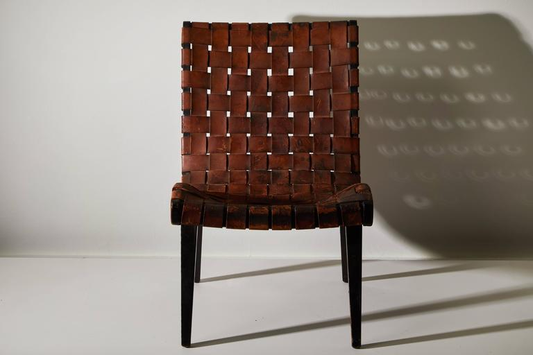 American Early Woven Leather Lounge Chair by Jens Risom for Knoll For Sale