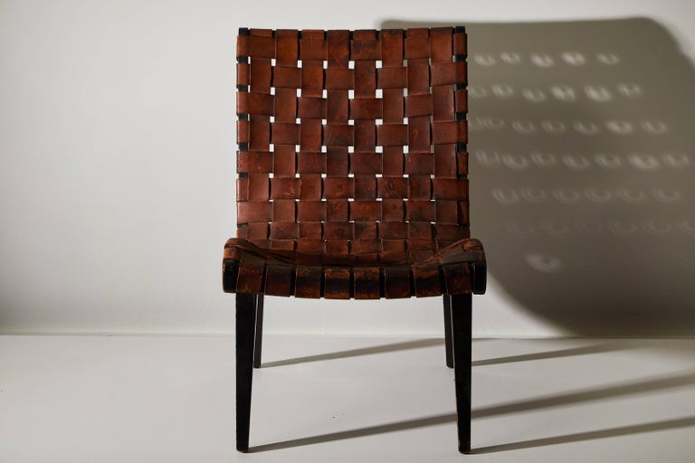 American Early Woven Leather Lounge Chair by Jens Risom for Knoll