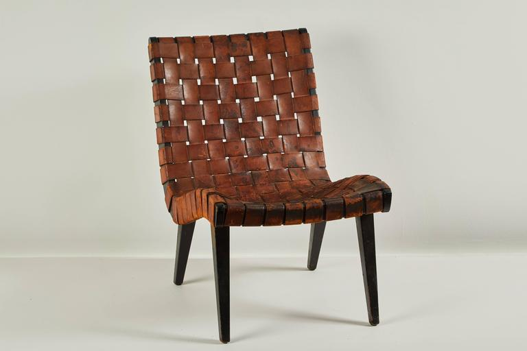 Early Woven Leather Lounge Chair by Jens Risom for Knoll For Sale 2