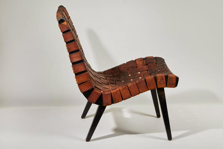 Early Woven Leather Lounge Chair by Jens Risom for Knoll For Sale 3
