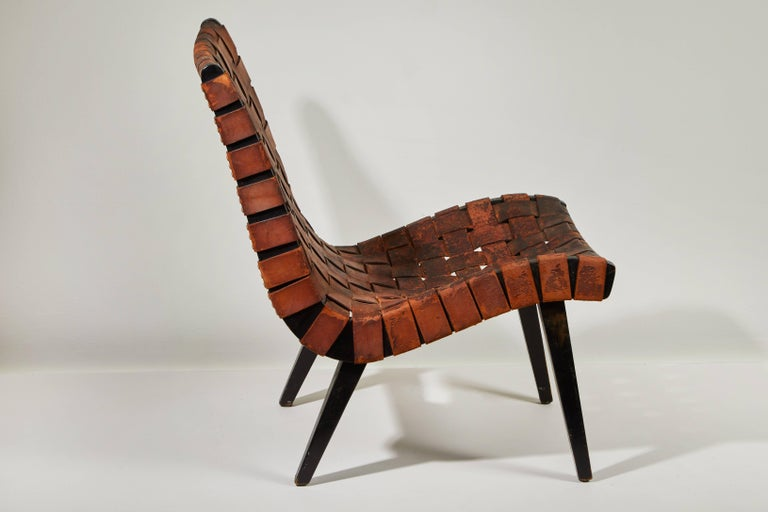 Early Woven Leather Lounge Chair by Jens Risom for Knoll 3