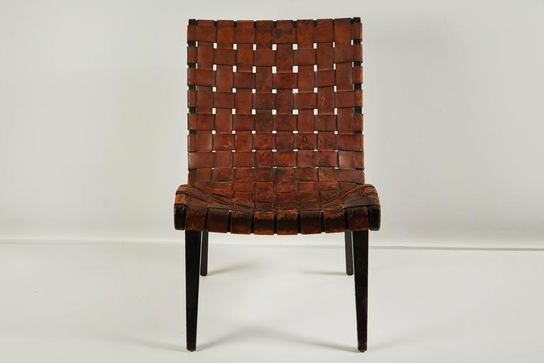 Early Woven Leather Lounge Chair by Jens Risom for Knoll For Sale 4