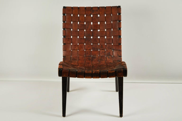 Early Woven Leather Lounge Chair by Jens Risom for Knoll 4