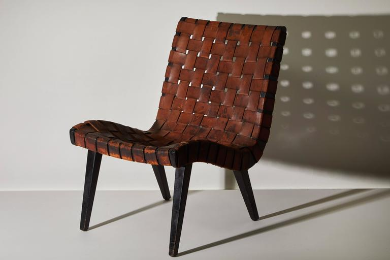 Early Woven Leather Lounge Chair by Jens Risom for Knoll For Sale 1