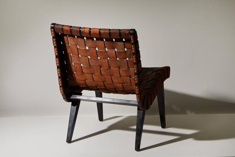 Mid-20th Century Early Woven Leather Lounge Chair by Jens Risom for Knoll For Sale