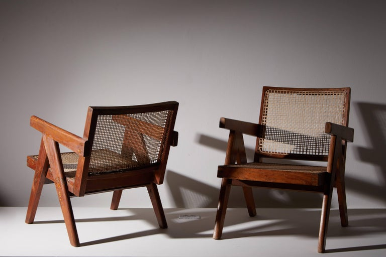 Pair of Easy Armchairs by Pierre Jeanneret In Good Condition For Sale In Los Angeles, CA