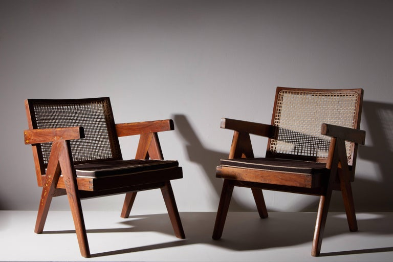 Mid-20th Century Pair of Easy Armchairs by Pierre Jeanneret For Sale