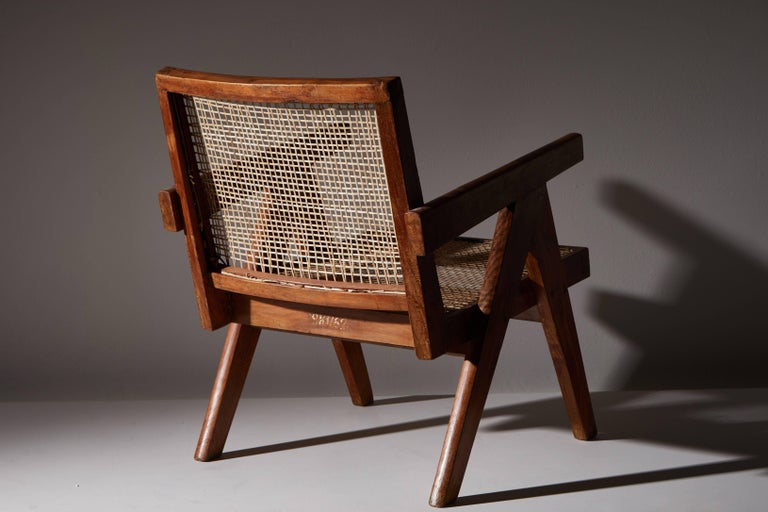 Cane Pair of Easy Armchairs by Pierre Jeanneret For Sale
