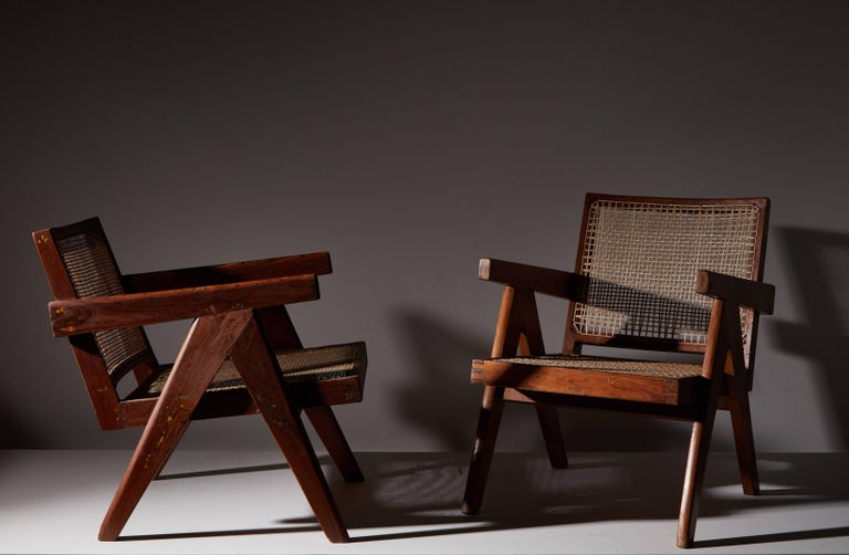French Pair of Easy Armchairs by Pierre Jeanneret For Sale