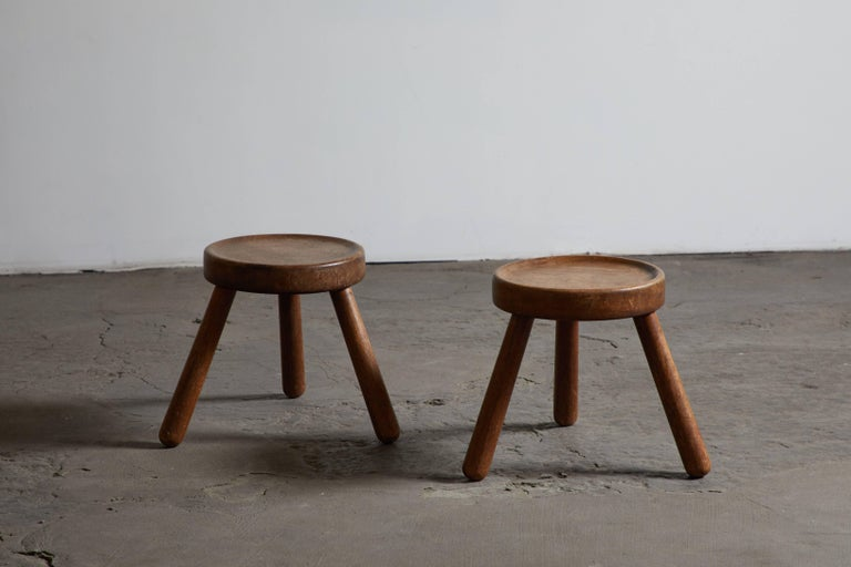 Pair of Wood Tripod Stools 2