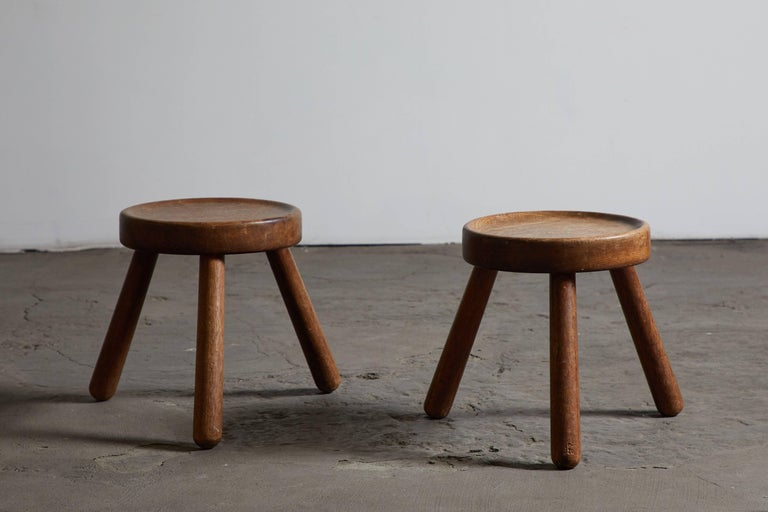 Pair of Wood Tripod Stools 3
