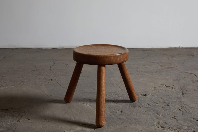 Pair of Wood Tripod Stools 4