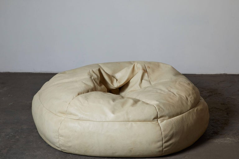 White Leather Bean Bag Chair Made In Italy Circa 1968 Part Of The
