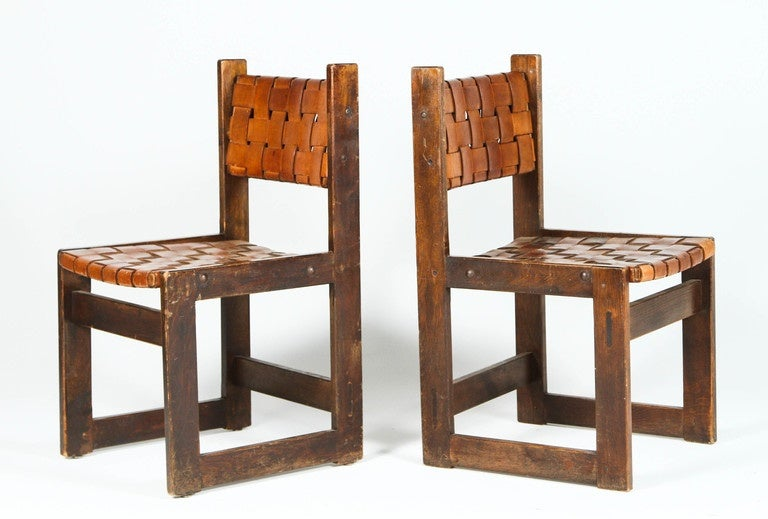 Pair of Belgian Woven Leather Chairs 3