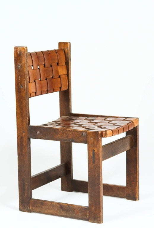Mid-20th Century Pair of Belgian Woven Leather Chairs For Sale