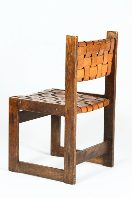 Pair of Belgian Woven Leather Chairs 8