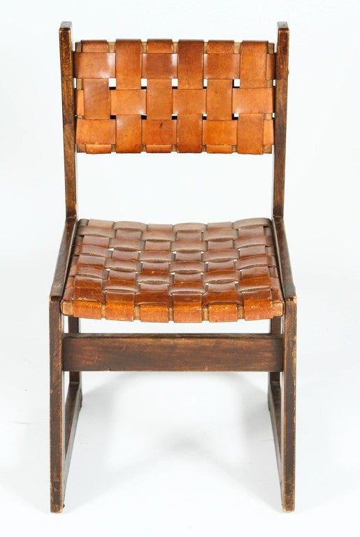 Pair of Belgian Woven Leather Chairs For Sale 6