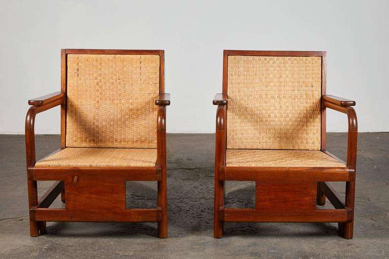 American Pair of Lounge Chairs in the Manner of Ilonka Karasz For Sale